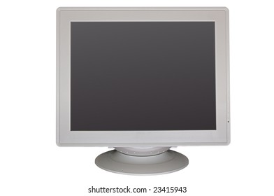 Big gray CRT monitor with empty screen