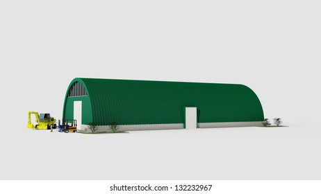 Big green aluminum garage for storage (3d renderinag)
