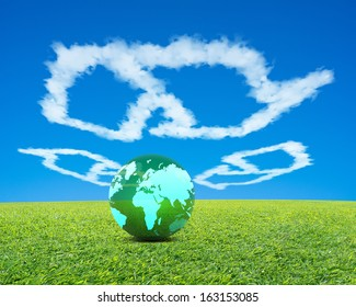 Big Green Ball with world wide map in recycling symbol shape clouds, fresh green meadow and blue sky background