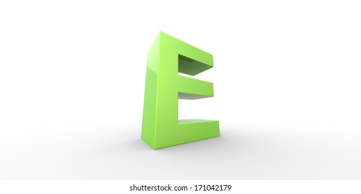 Big green letter on a white background