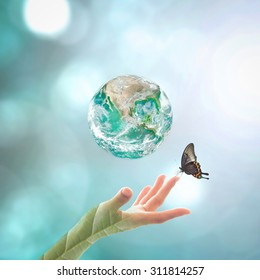Big green planet for world environment day, earth day concept : Elements of this image furnished by NASA