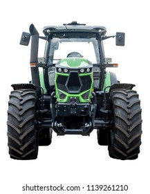 Big green tractor on white background
