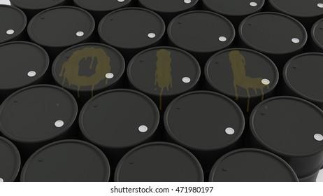 big group of black new oil barrels wit OIL word on them 3d illustration