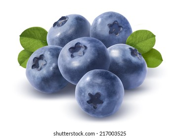 Big group of blueberries isolated on white background as package design element