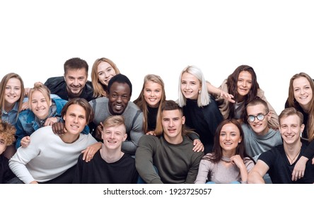 big group of friends hugging each other