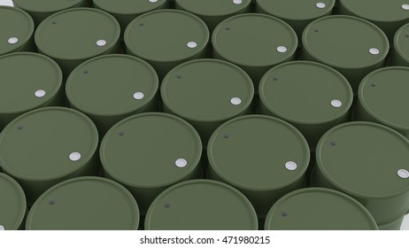big group of green army new oil barrels 3d illustration