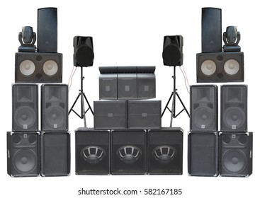 Big group of old industrial powerful stage sound speakers isolated over white background