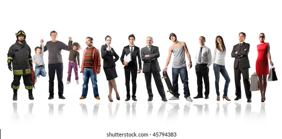 Big group of people of different ages and social position