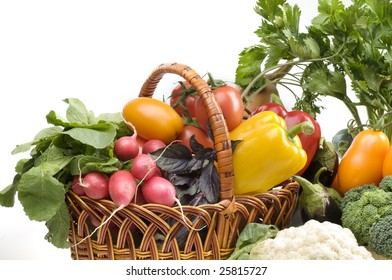 Big group of vegetable food objects over white background