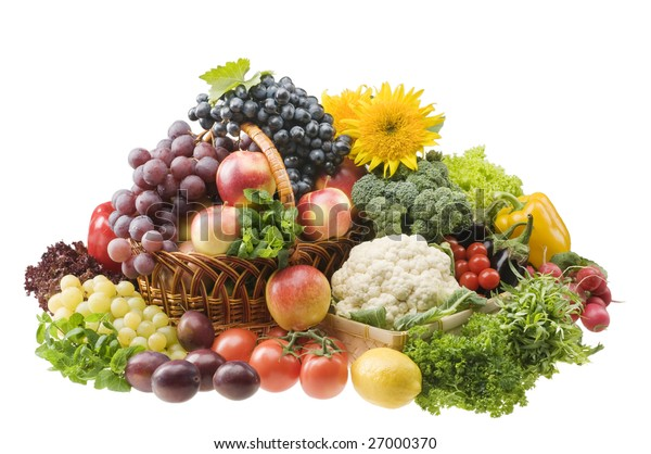 Big group of vegetable and fruit food objects over white background