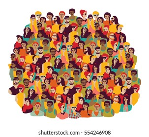Big group young happy casual people faces isolate on white. Color illustration.