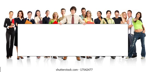 Big group of the young smiling  students. Over white background