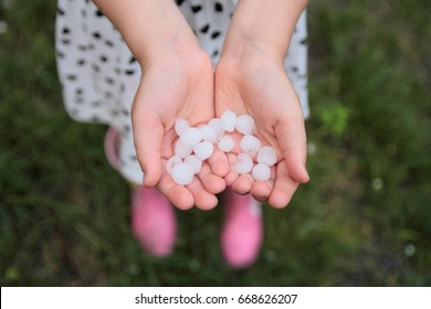 Big hailstones kept in the hands of a little girl after a summer storm.
