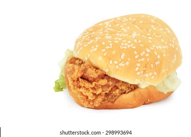 Big hamburger, chicken fries isolated on white background with clipping path.