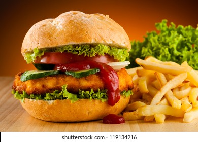Big hamburger, chicken nuggets and French fries