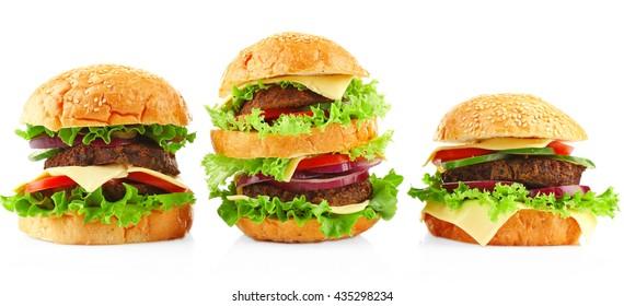 Big hamburgers isolated on white