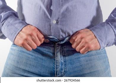 Big hands button up a big jeans.