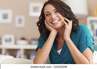 Big happiness of beautiful woman