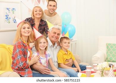 Big happy family celebrating Birthday