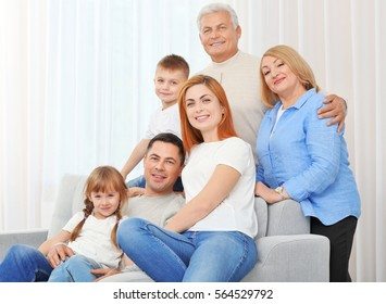Big happy family on couch