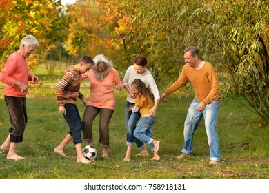 Big happy family playing football in park
