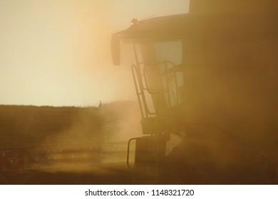 Big harvester working on sunset