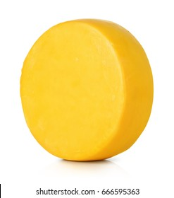 Big head of round cheese on white background. File contains a path to isolation.