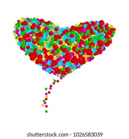 Big heart made from round shapes multicolor confetti on white background. Bright colorful small dots.