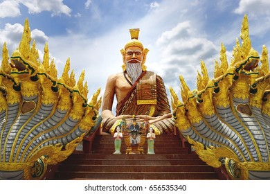 Big hermit statue at U-Thong district, Suphan Buri province, Thailand, They are public property, no restrict in copy or use..