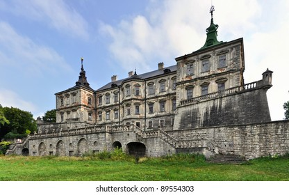 Big high contrast panorama: Podgoretsky Castle. Pidhirtsi, Ukraine