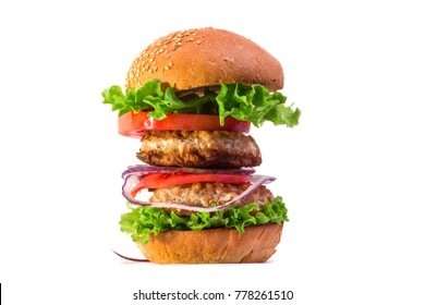 big high hot appetizing burger cooked on a white background