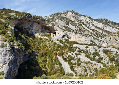 Big hole in climbig area of Sierra de Guara National Park near Rodellar village, Huesca province in Aragon, Spain