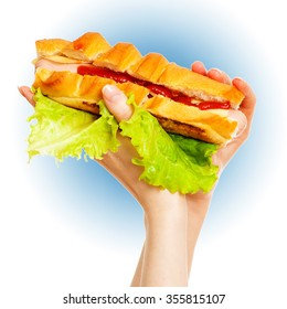 Big hot dog in female hands on blue and white background