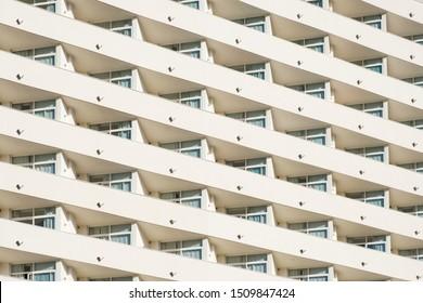 big hotel or apartment building facade   balcony pattern -
