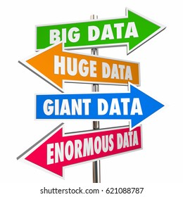 Big Huge Giant Enormous Data Signs 3d Illustration