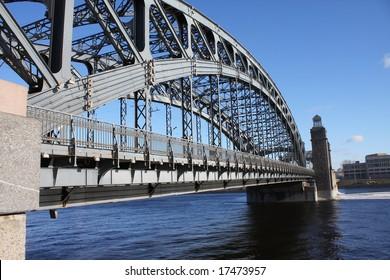 The big image of iron bridge on Neva rive. St-Petersburg