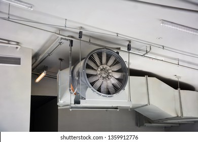 Big industrial cooler fans or cooler fans big engine in factory for reduced heat in operation.