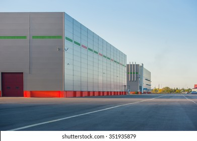 Big industrial warehouse building