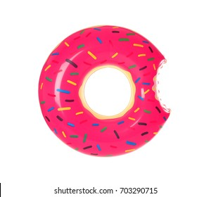 Big inflatable donut on white background