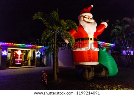 1968798ca9faa Big Inflatable Santa Claus CHRISTMAS LIGHTS Stock Photo (Edit Now ...