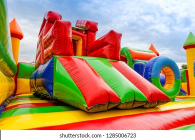 Big, inflatable slide in playground