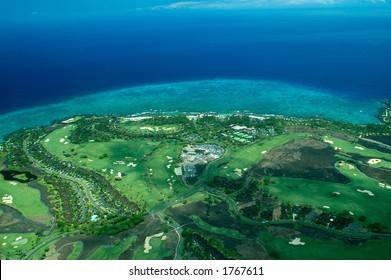 Big Island aerial shot - coastal golf course, Hawaii
