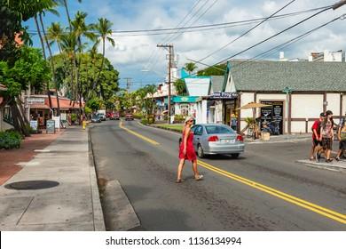 BIG ISLAND, HAWAII, USA-DECEMBER 31, 2013: the alii drive the main road downtown kona