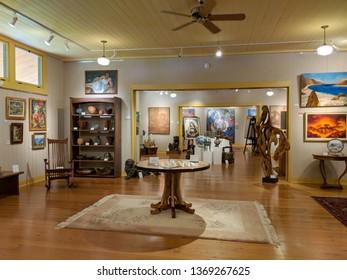 Big Island - October 20, 2018: Inside The Isaacs Art Center.  The Isaacs Art Center is an art museum and retail gallery in Waimea on the Island of Hawaii.