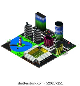 Big isometric city. Skyscrapers, stadium, buildings. Map includes river, business centers, lighthouse, office, hotel, central quay, cars, parkings, markings and greenery. 3d map elements.