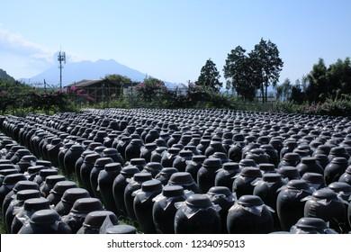 Big jag for aging vinegar in Kirishima, Kagoshima, Japan