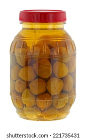 A big jar of pickled peach (Chinese plum, Japanese apricot), isolated on white background