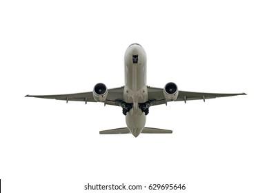 big jet plane taking off on white background