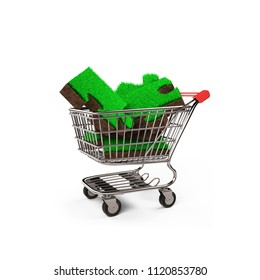 Big jigsaw puzzles made out of green grass and soil texture in the shopping cart, isolated on white background, ECO and circular economy concept, 3D illustration.