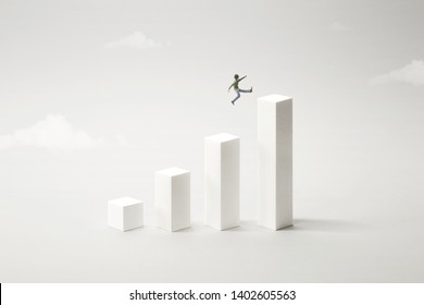 big jump to reach the top, success concept